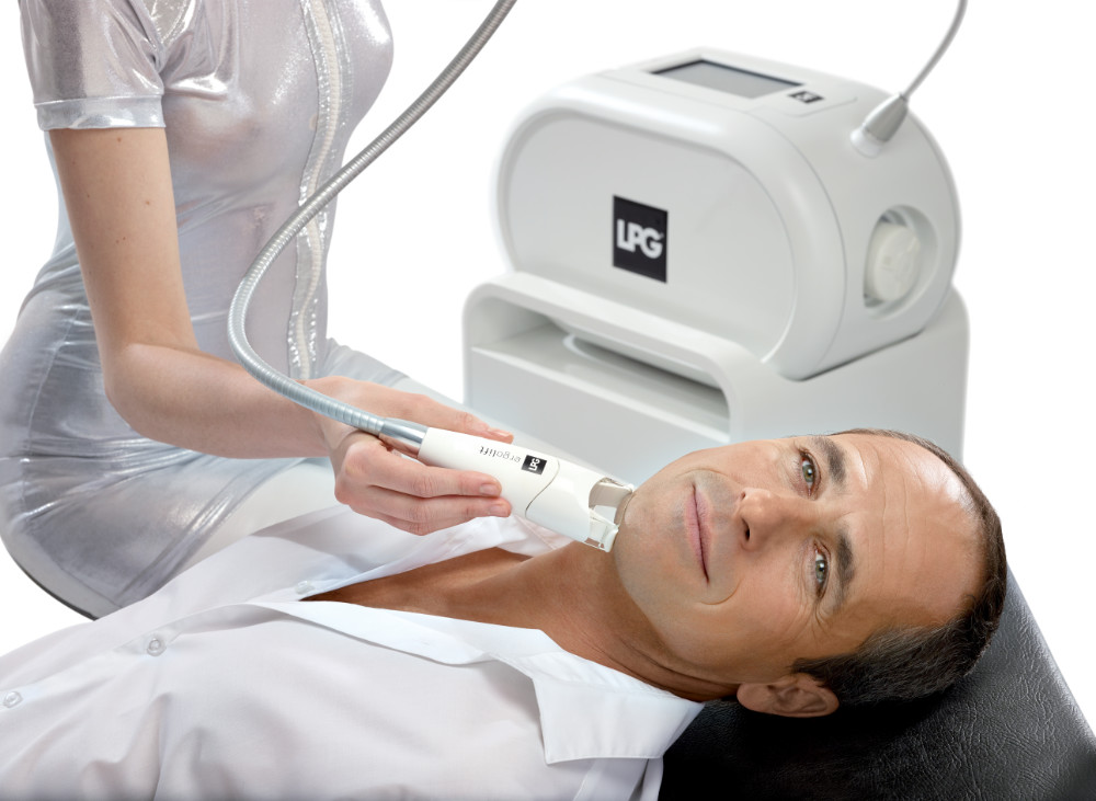 A man receives a therapeutic LPG face treatment.